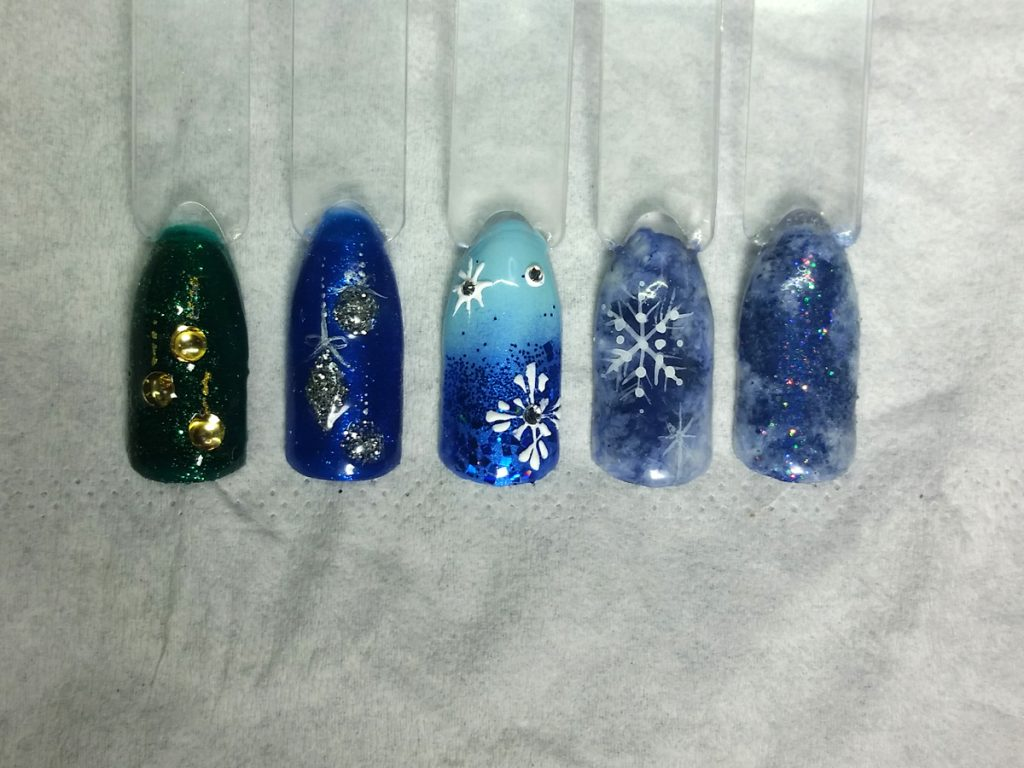 Frost and baubles nail swatches