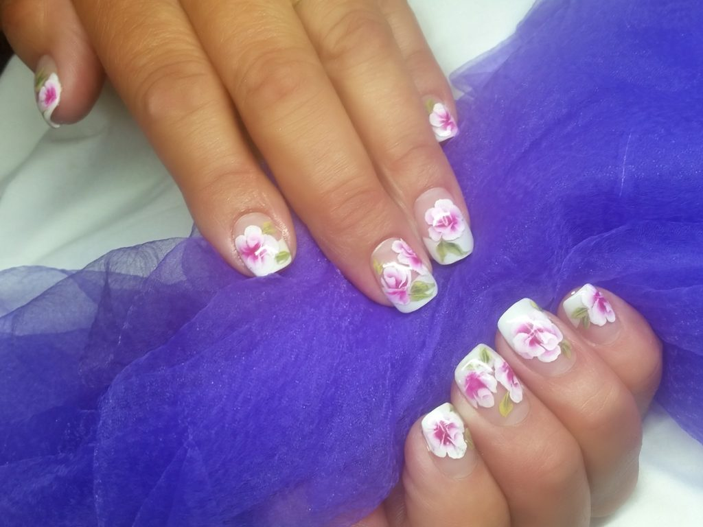 Onestroke roses painted over french nails