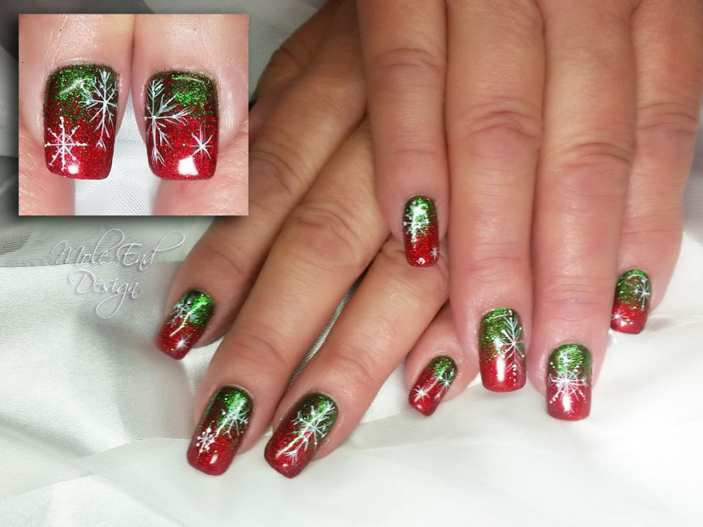 Green and red festive glitter snowflake nails