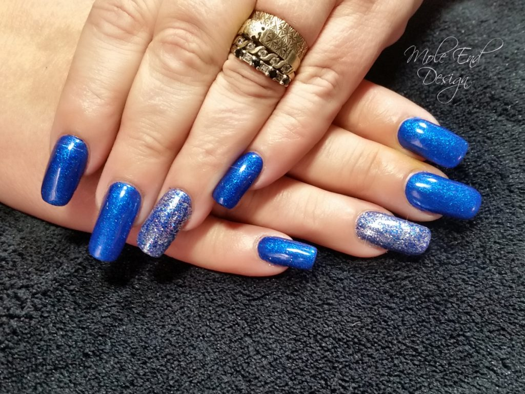 Blue Acrylic overlay with glitter