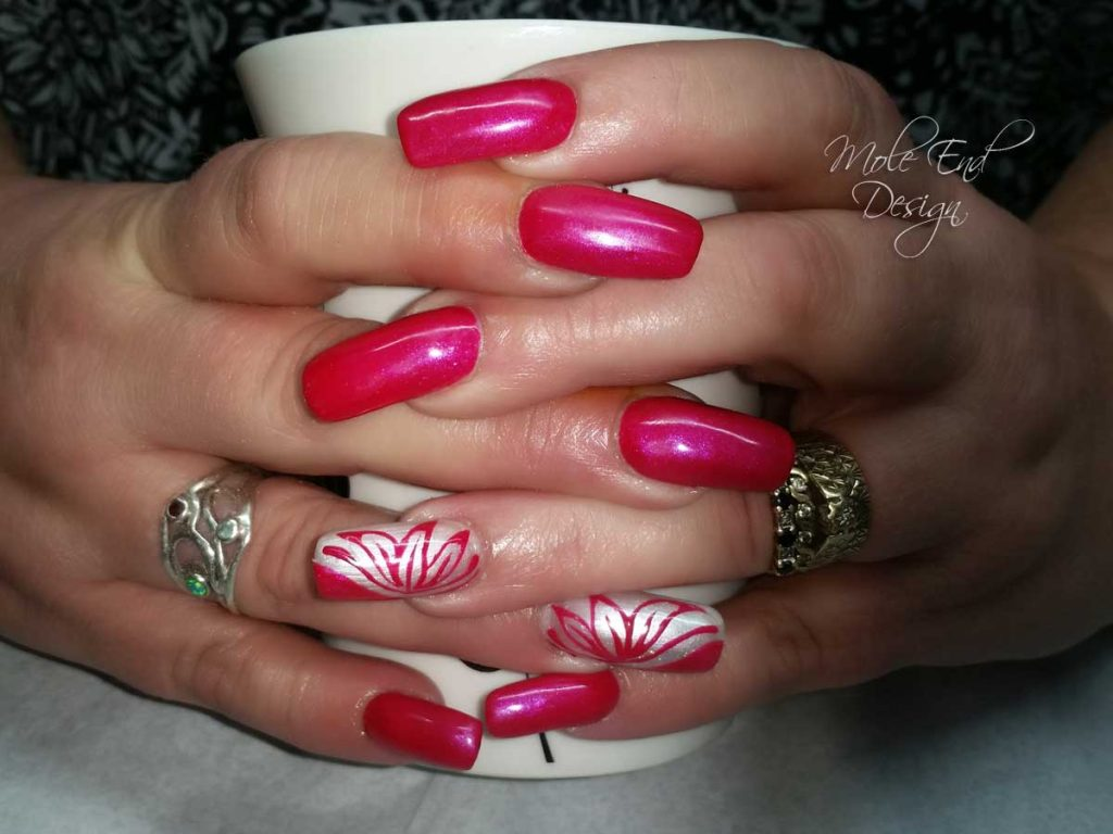 Natural nails  with acrylic overlay, pink with handpainted flower