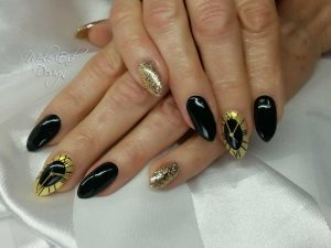 Black gold chrome clock nails