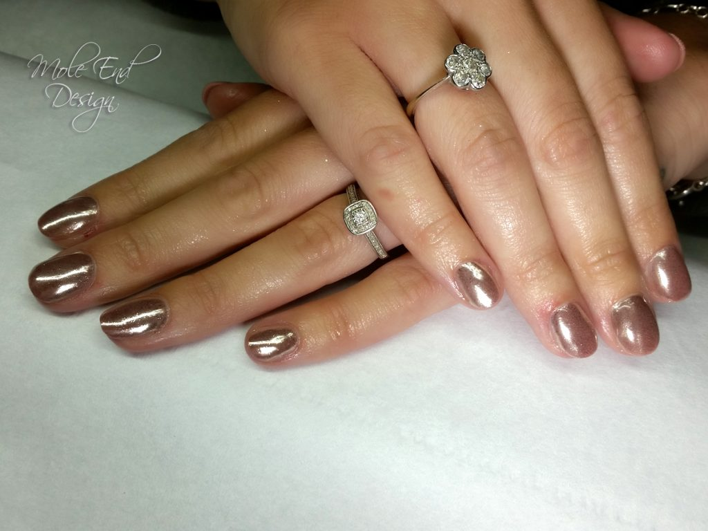Rose gold gel chrome
