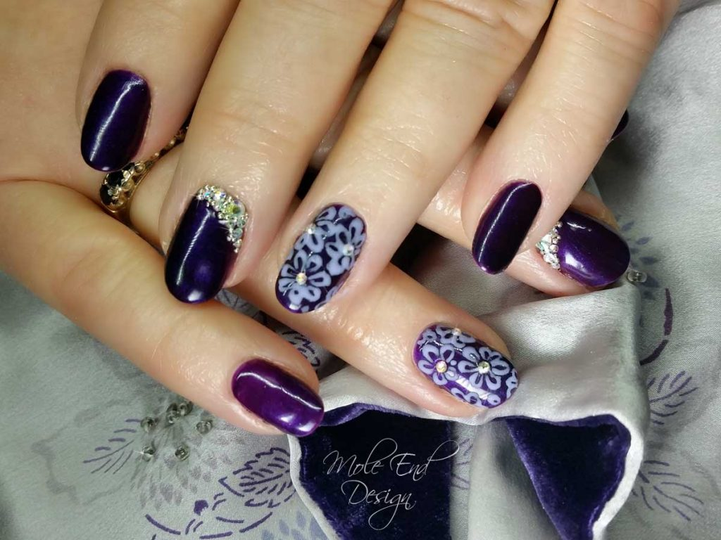 Night Reflection and sand flowers and bling purple nails