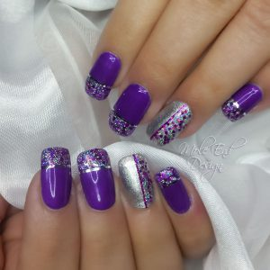 Silver and purple Glitter and striping tape
