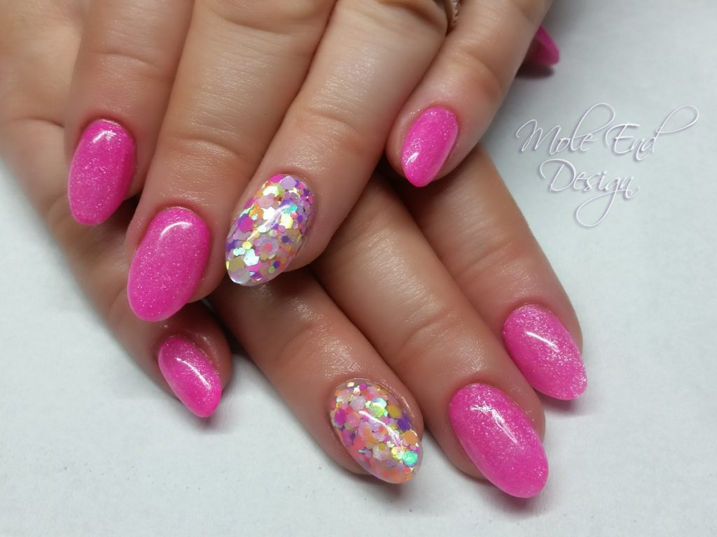 Pink acrylic with confetti glitter