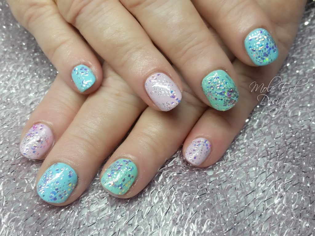 Mermaid flakes over pastel Gel polish