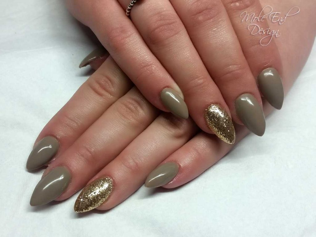 Dark nude with champagne glitter over acrylics