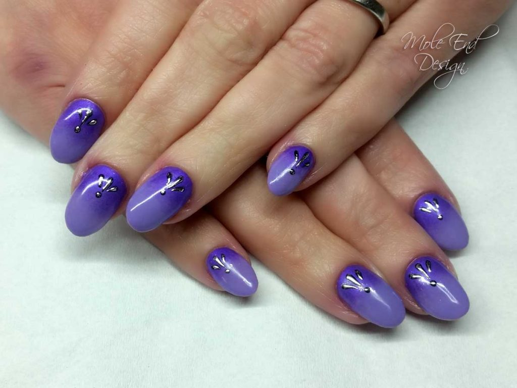 Purple ombre with foil i35