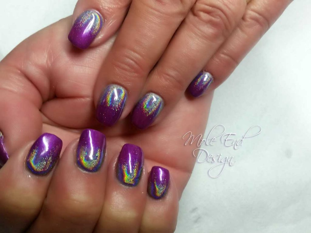 Gelish Starburst with holo pigment fade
