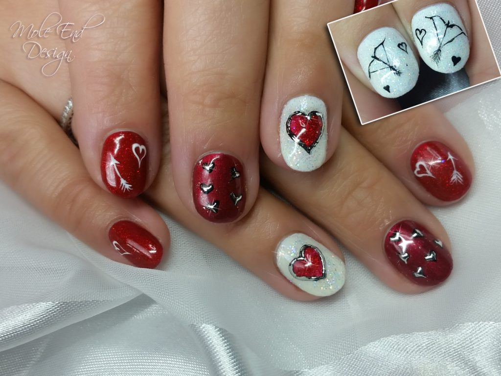 Valentines Nails with Bows on thumbs