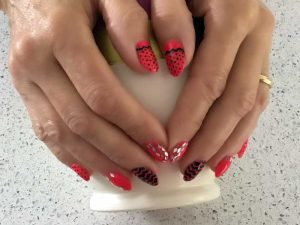 Watermelon with diamond glitter and chevron design
