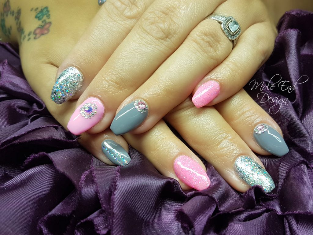 Pink, grey and glitter with bling